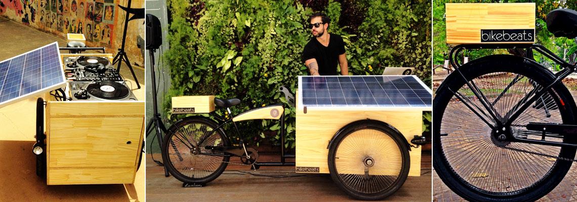DJ usa bike e energia solar para fazer um som em qualquer lugar