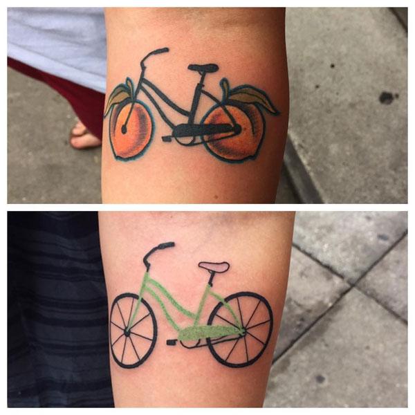 duas fotos de tatuagens no braço