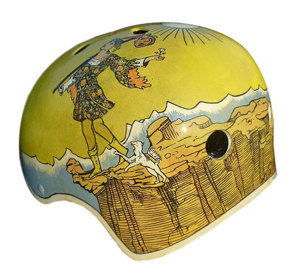 capacete personalizado amarelo com desenho do arcano maior do tarot