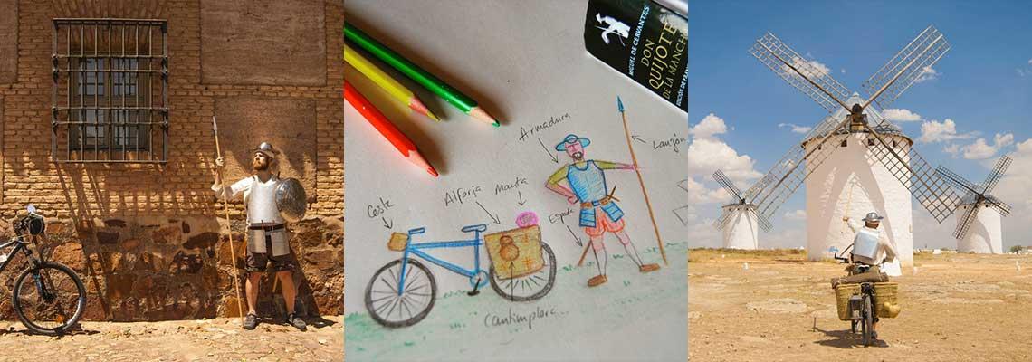 Montado em sua bicicleta, espanhol recria viagens de Dom Quixote